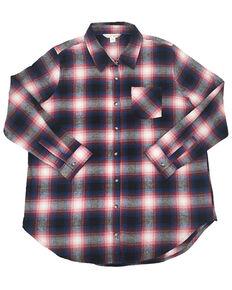 Ely Walker Women's Plaid Long Sleeve Western Flannel Shirt - Plus, Burgundy, hi-res
