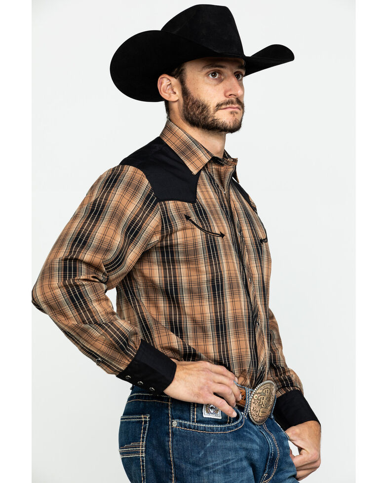 Roper Men's Retro Plaid Contrast Fancy Yoke Long Sleeve Western Shirt , Brown, hi-res