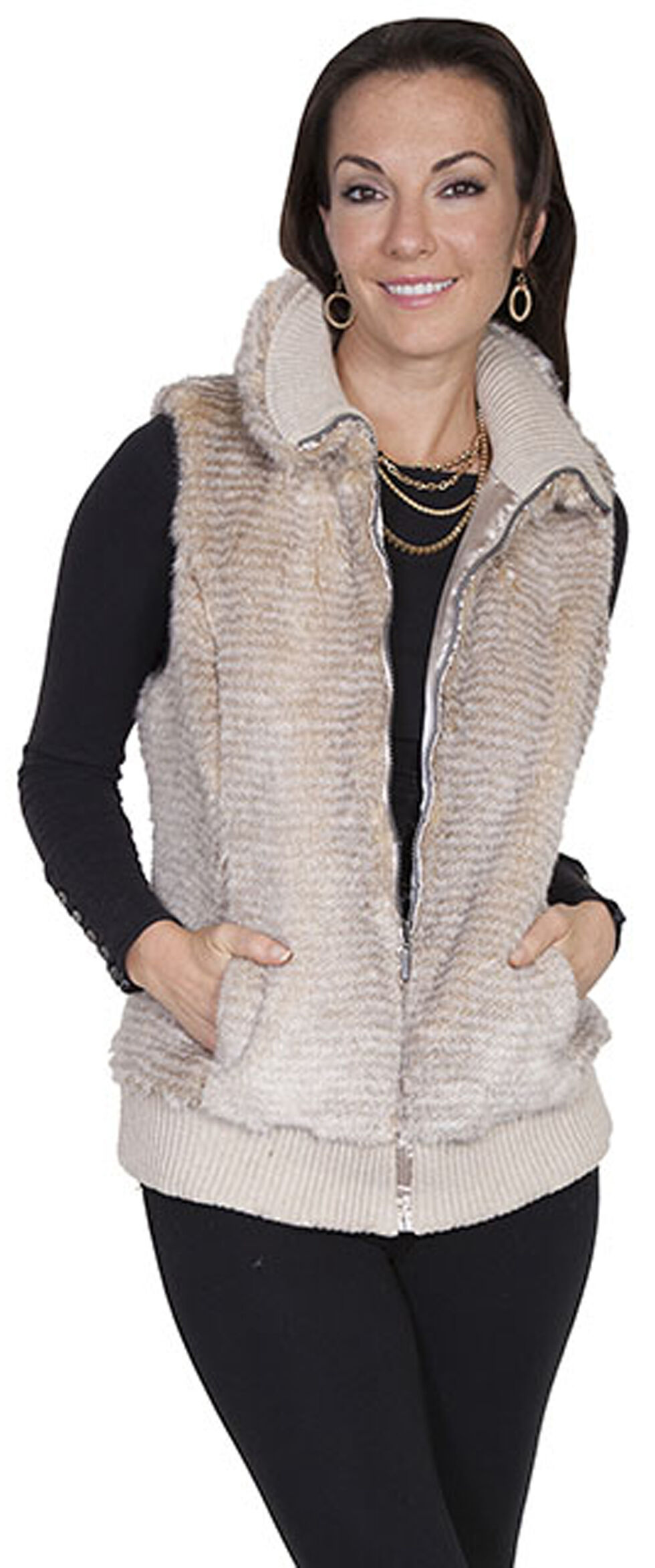 Scully Women's Sand Faux Fur Zip Vest, Sand, hi-res