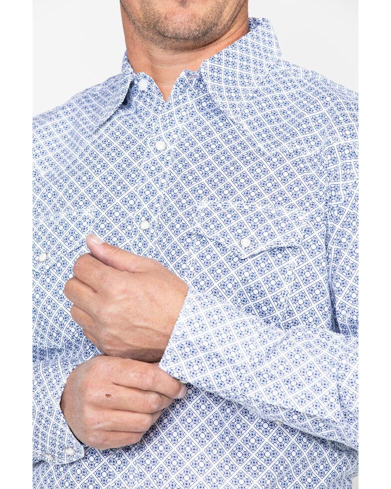 Wrangler 20X Men's Competition Advanced Comfort Geo Print Long Sleeve Shirt , Blue/white, hi-res
