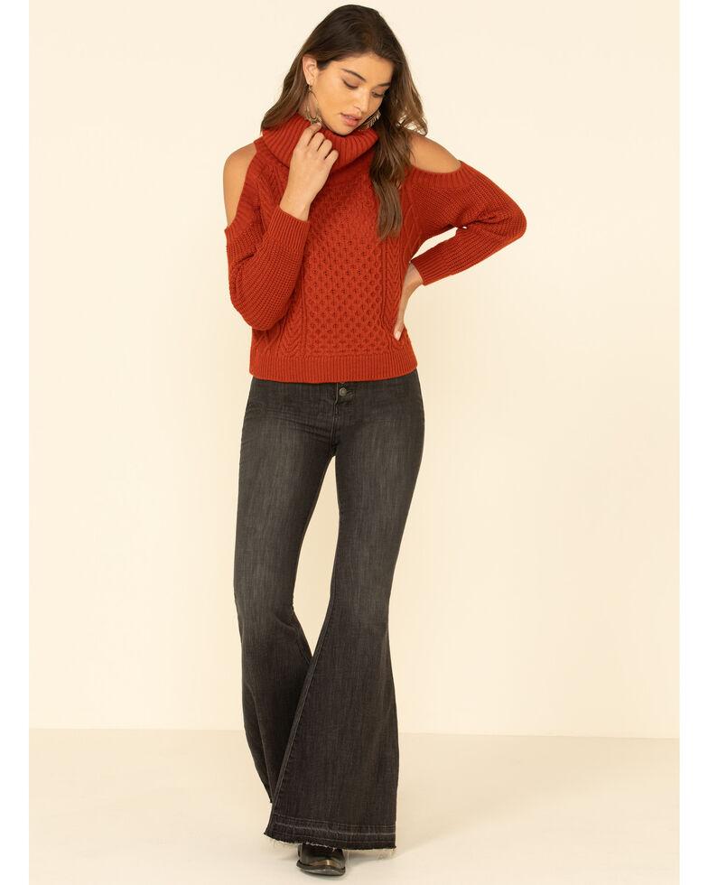Rock & Roll Denim Women's Cold Shoulder Turtleneck Sweater , Rust Copper, hi-res