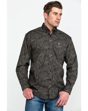 Cinch Men's Black Paisley Long Sleeve Button Down Shirt, Black, hi-res
