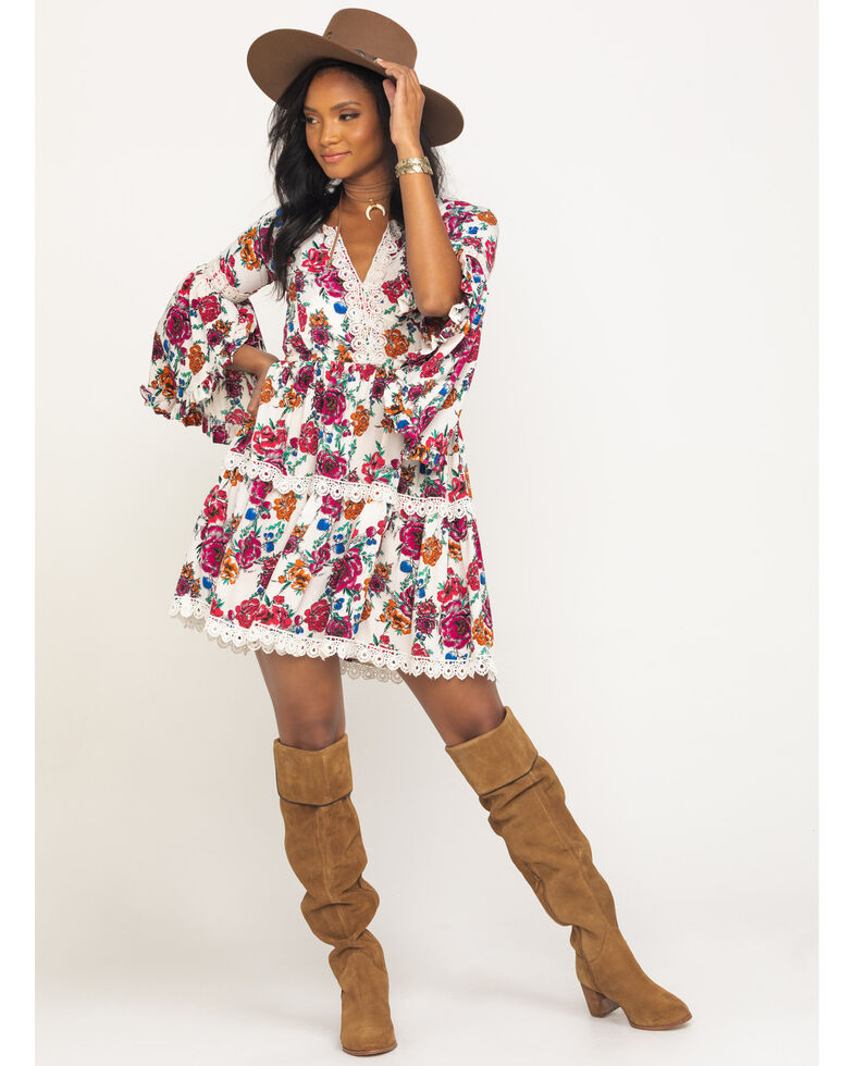 Rock & Roll Cowgirl Women's Floral Crochet Tiered Dress, Multi, hi-res