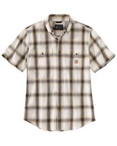 Carhartt Men's Khaki Chambray Plaid Loose Fit Midweight Short Sleeve Button-Down Work Shirt , Beige/khaki, hi-res