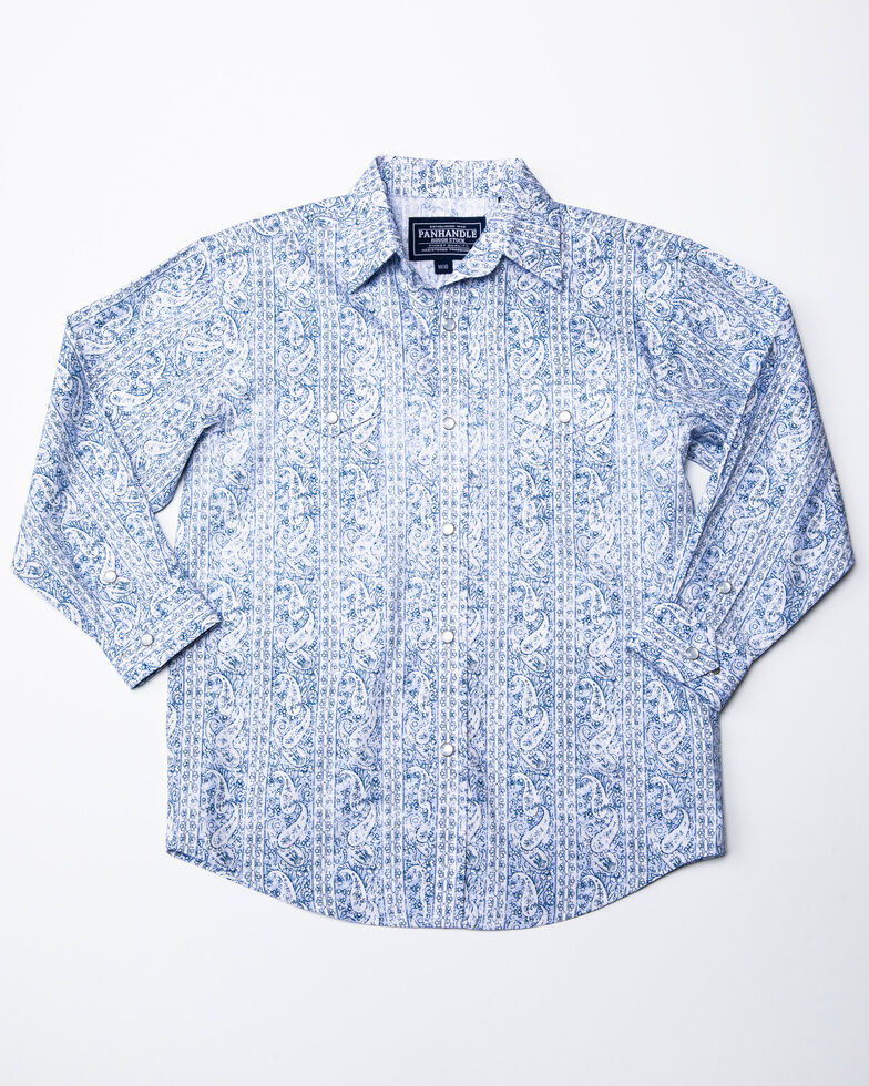 Rough Stock By Panhandle Boys' Lamond Vintage Print Long Sleeve Western Shirt , Blue, hi-res
