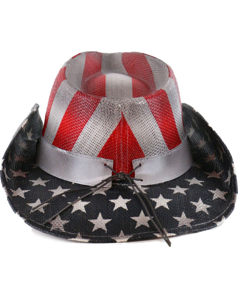 Cody James Men's Justice Straw Hat, Red/white/blue, hi-res