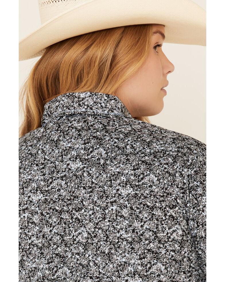 Rough Stock by Panhandle Women's Black Floral Print Short Sleeve Western Shirt - Plus , Black, hi-res