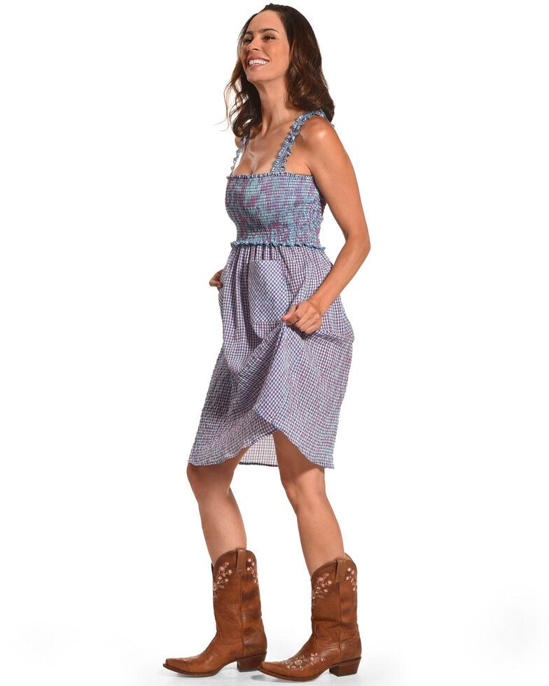 CES FEMME Women's Blue Checkered Fashion Dress, Blue, hi-res