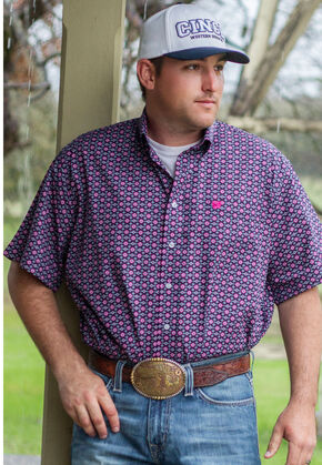 Cinch Men's Multi One Pocket Print Short Sleeve Shirt, Multi, hi-res