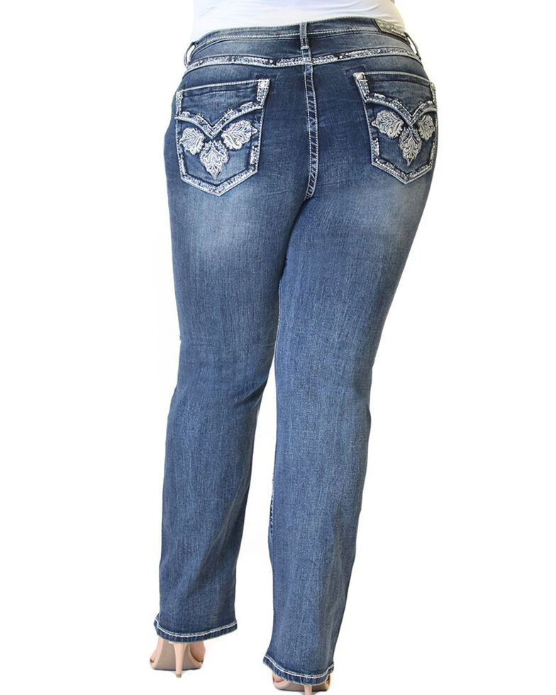 Grace in LA Women's Leaf Embroidered Straight Jeans - Plus, Blue, hi-res