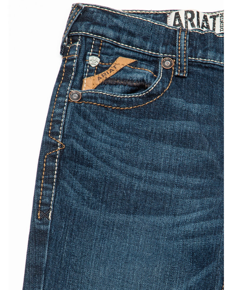 Ariat Boys' Chief Stretch Low Relaxed Bootcut Jeans , Blue, hi-res