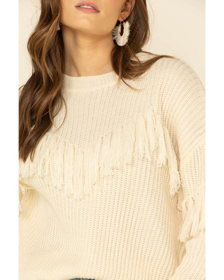 Flying Tomato Women's Fringe Tassel Front Sweater , Ivory, hi-res