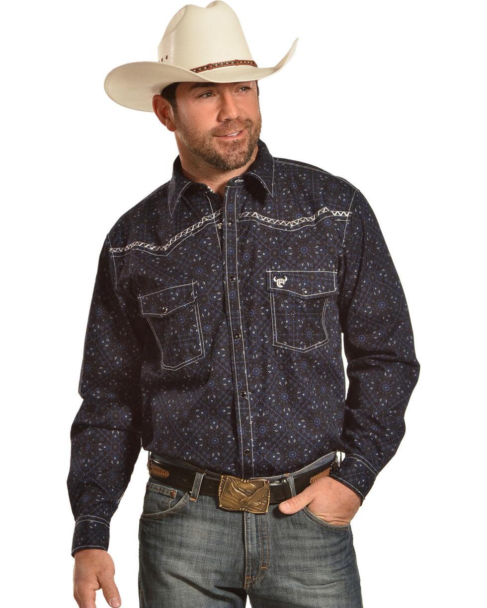 Cowboy Hardware Men's Black Scroll Printed Long Sleeve Western Shirt, Black, hi-res