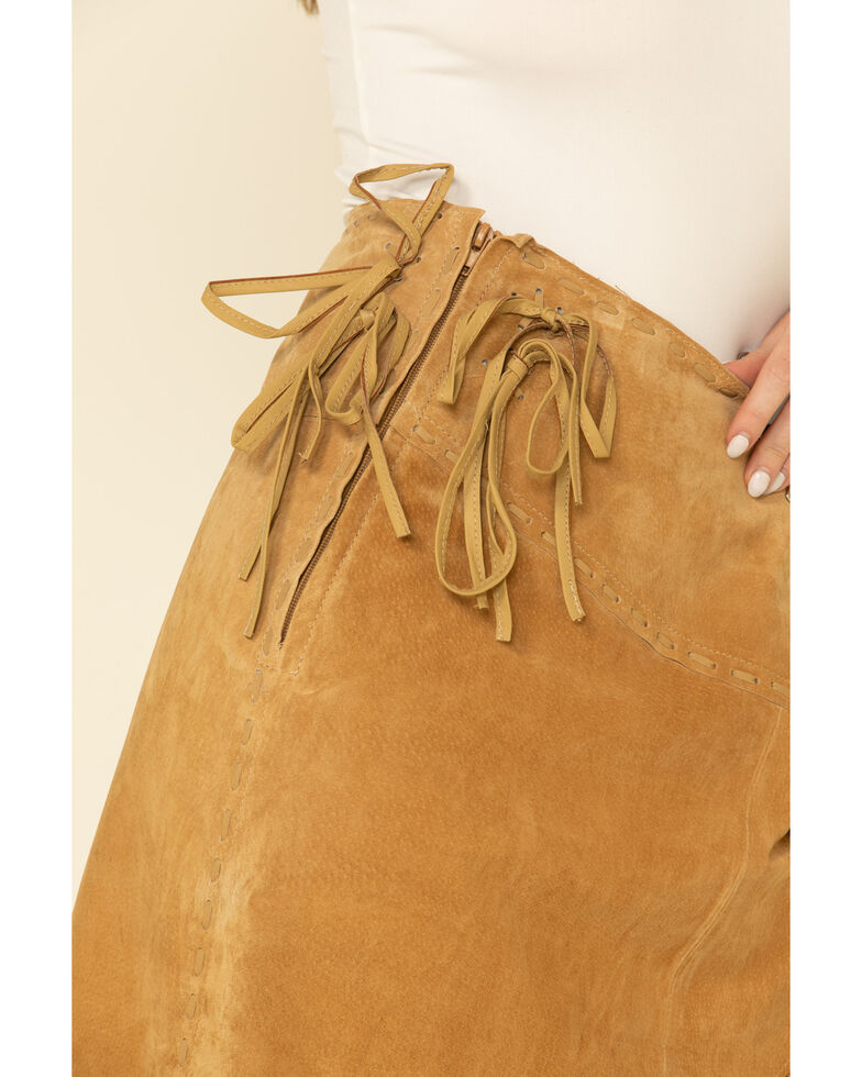 Scully Suede Leather Fringe Skirt, Tan, hi-res