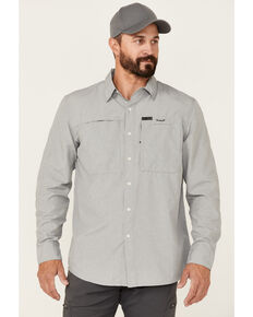 Wrangler ATG Men's All-Terrain Solid Charcoal Hike-To-Fish Long Sleeve Button-Down Western Shirt , Charcoal, hi-res