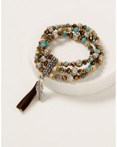 Shyanne Women's Ida Stretch Beaded Bracelet, Silver, hi-res