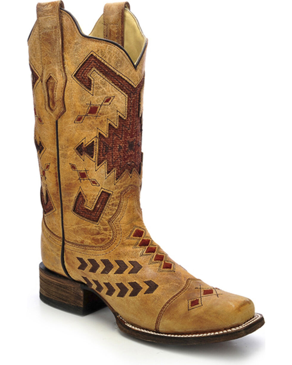 Corral Women's Jute Inlay Cowgirl Boots - Square Toe, , hi-res
