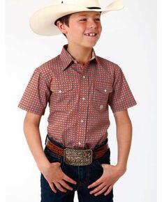 Roper Boys' Amarillo Clay Foulard Geo Print Short Sleeve Western Shirt , Orange, hi-res