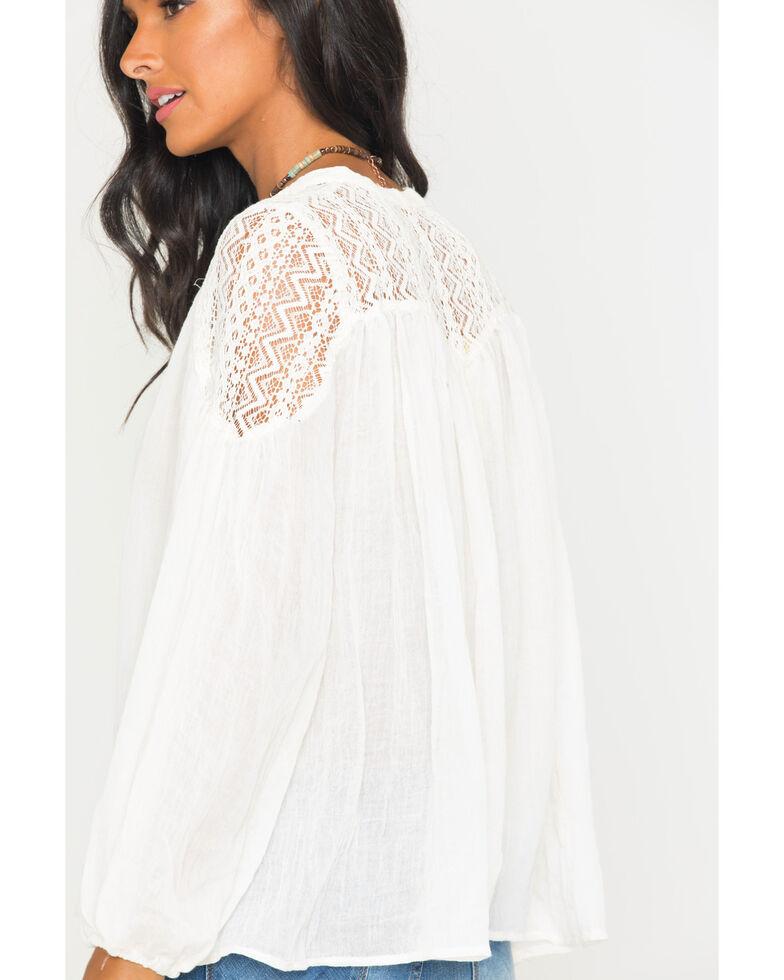 Freeway Apparel Women's Lace Yoke Top , White, hi-res
