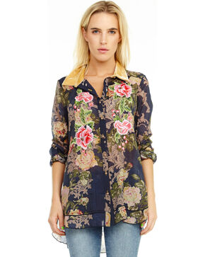 Aratta Women's Navy Collette Shirt , Dark Blue, hi-res