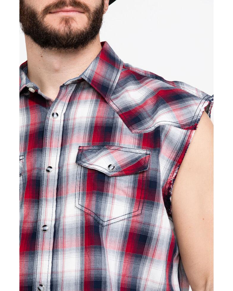 Cody James Men's Bubba Plaid Sleeveless Western Shirt , Red/white/blue, hi-res
