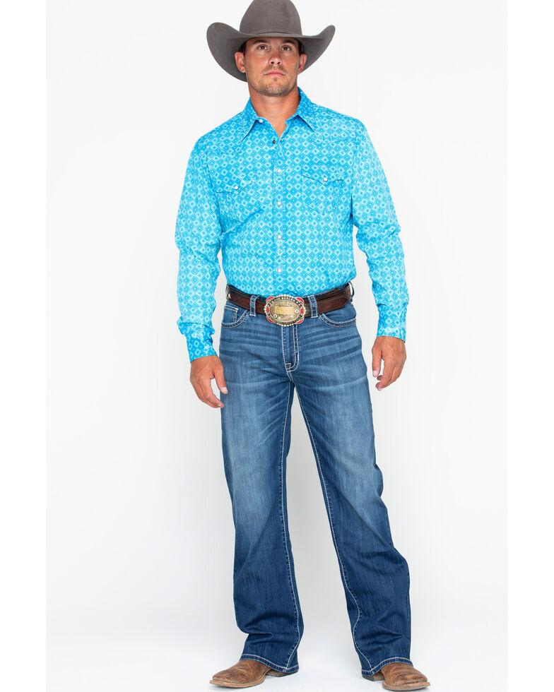 Rock & Roll Denim Men's Diamond Geo Print Long Sleeve Western Shirt , Turquoise, hi-res
