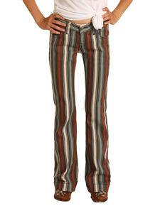 Rock & Roll Denim Girls' Multi Striped Stretch Trouser Jeans, Multi, hi-res