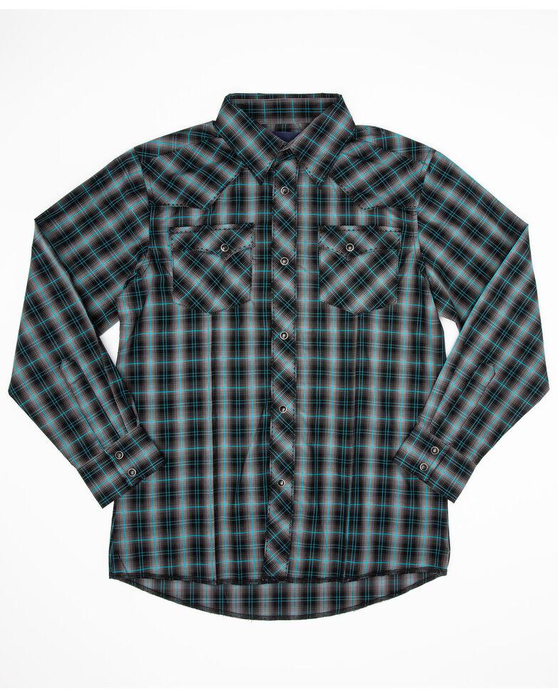 Wrangler Boys' Grey Plaid Long Sleeve Western Shirt , Grey, hi-res