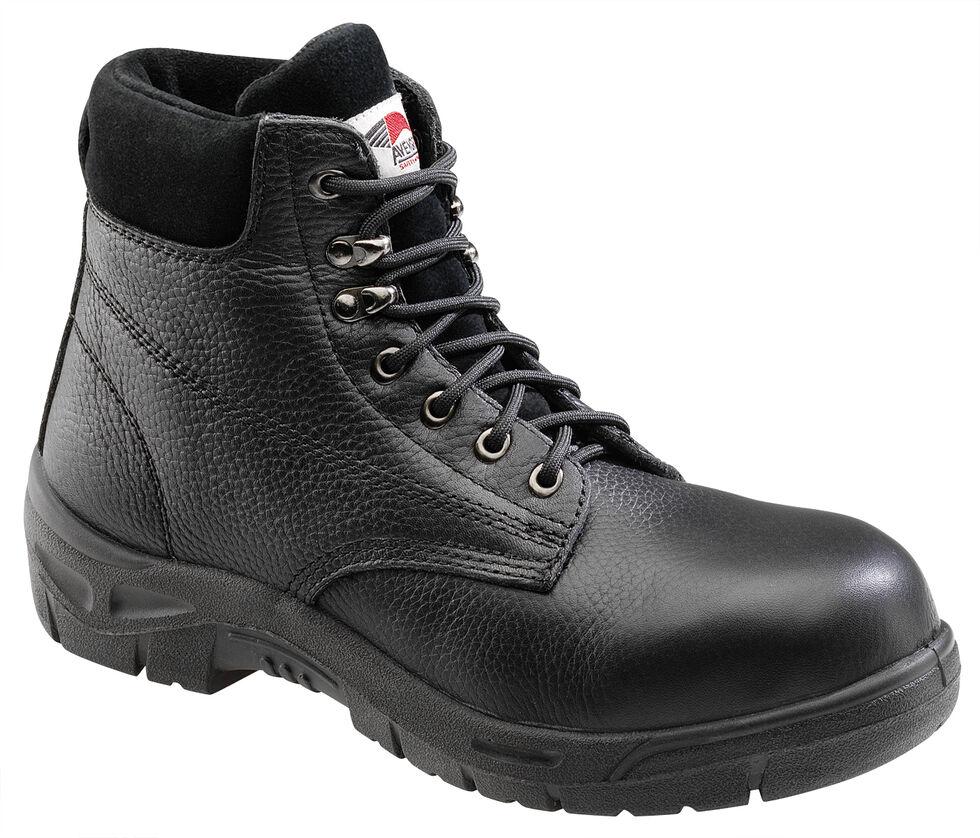Avenger Men's Black Pebbled Leather Anti-Slip Work Boots - Steel Toe, Black, hi-res