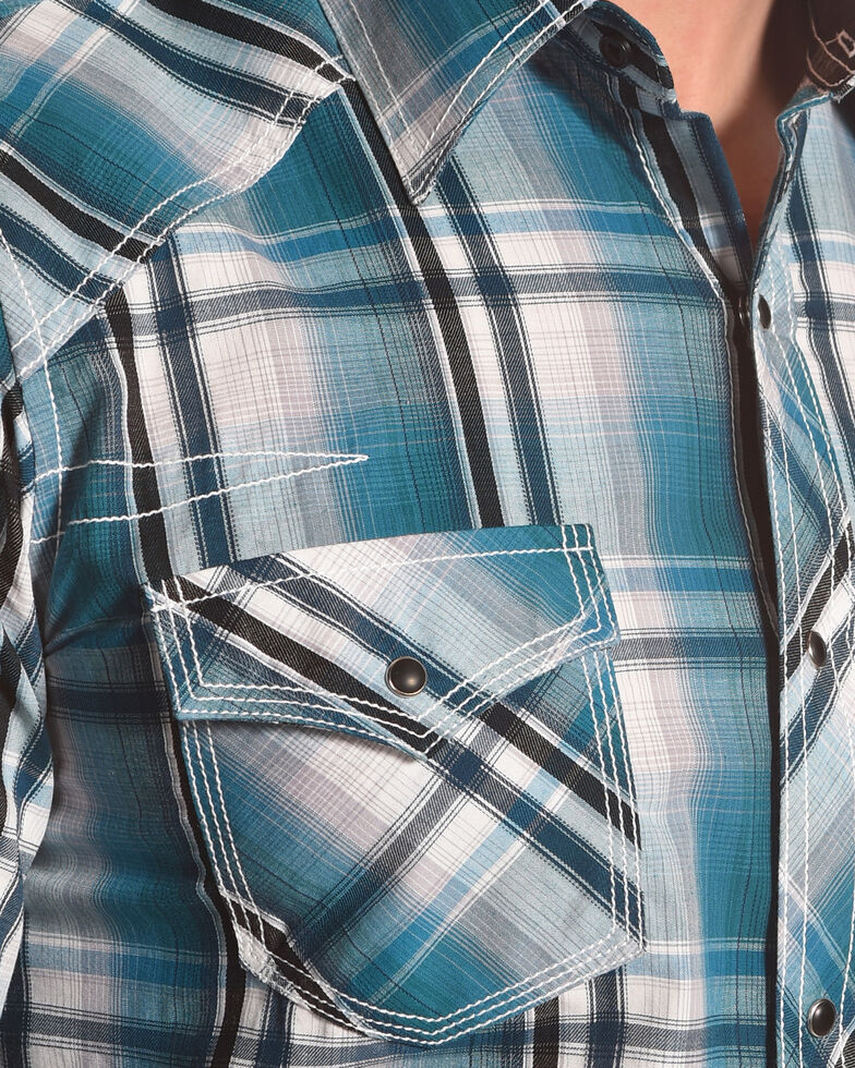 Ely Cattleman Men's Teal 1878 Texture Plaid Shirt , Teal, hi-res