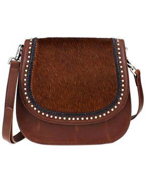 Montana West Delila Saddle Bag 100% Genuine Leather Hair-On Hide Collection , Brown, hi-res
