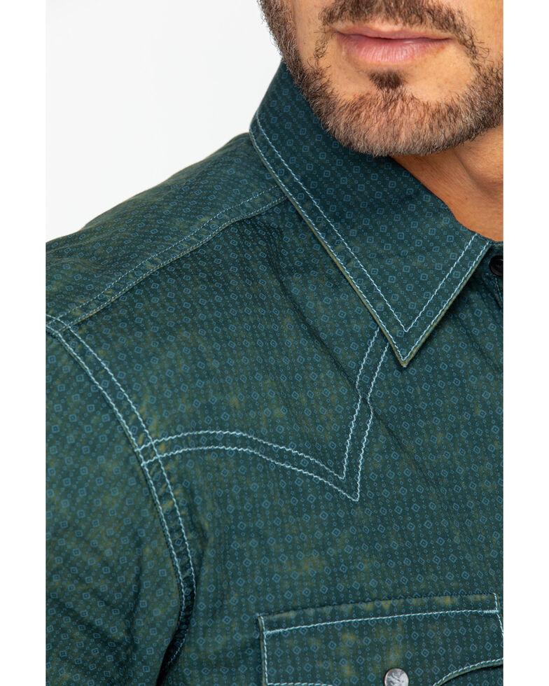 Wrangler Retro Men's Premium Acid Wash Geo Print Long Sleeve Western Shirt, Teal, hi-res