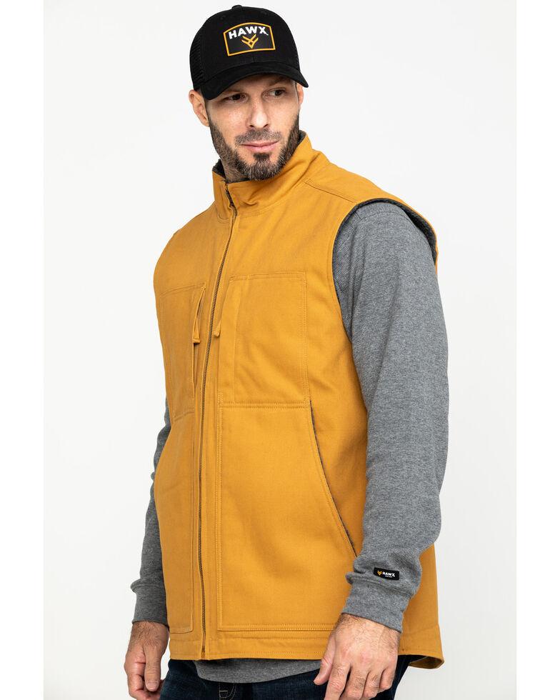 Hawx Men's Khaki Canvas Sherpa Lined Work Vest , Brown, hi-res