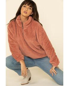 PJ Salvage Women's Cozy Cuddlers Fuzzy 1/2 Zip Up Pullover , Pink, hi-res