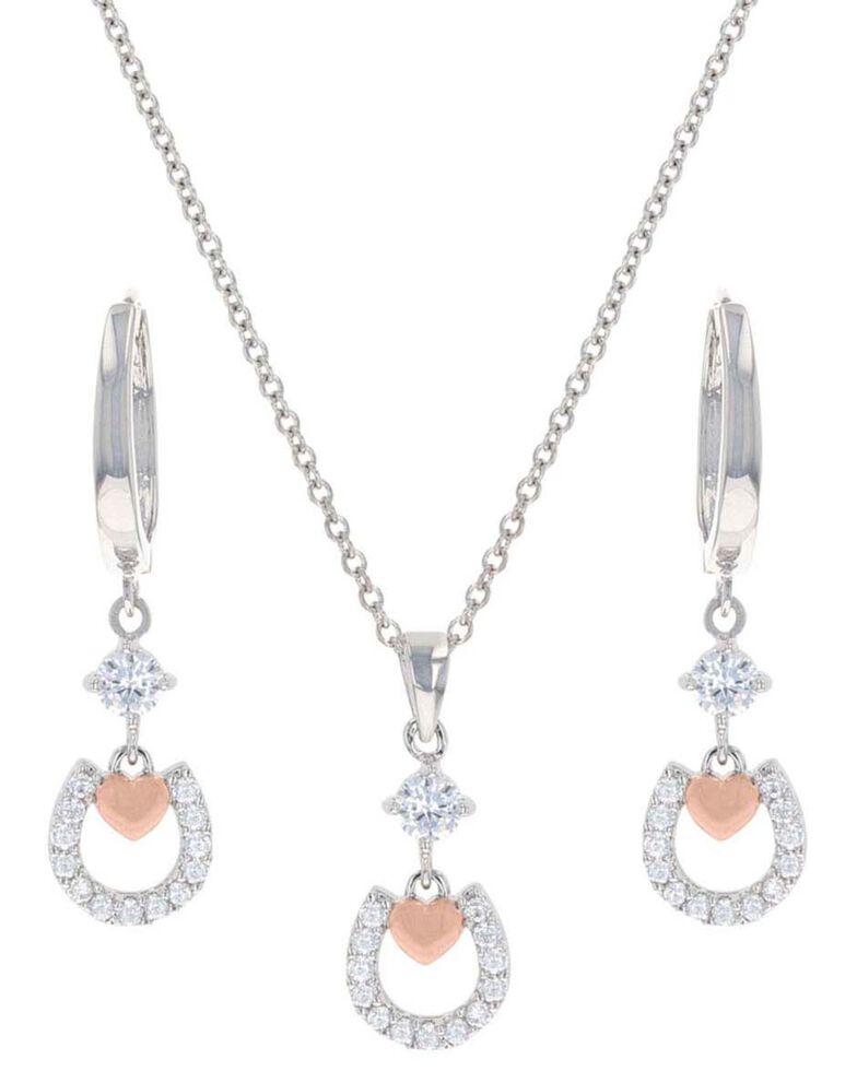 Montana Silversmiths Women's Hoofprints On My Heart Horseshoe Jewelry Set, Silver, hi-res