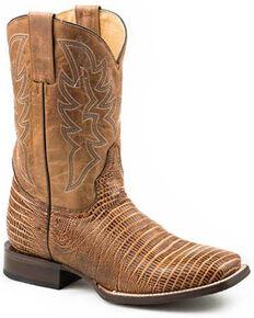 Roper Men's Teju Lizard Embossed Western Boots - Wide Square Toe, Brown, hi-res