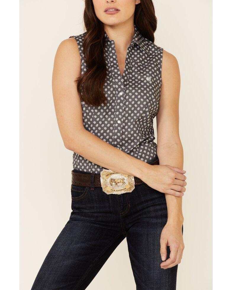Amarillo Women's Copper Ridge Mini Paisley Print Sleeveless Snap Western Shirt , Grey, hi-res