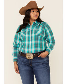 Ariat Women's Green R.E.A.L Magnetic Plaid Long Sleeve Snap Western Shirt - Plus, Turquoise, hi-res