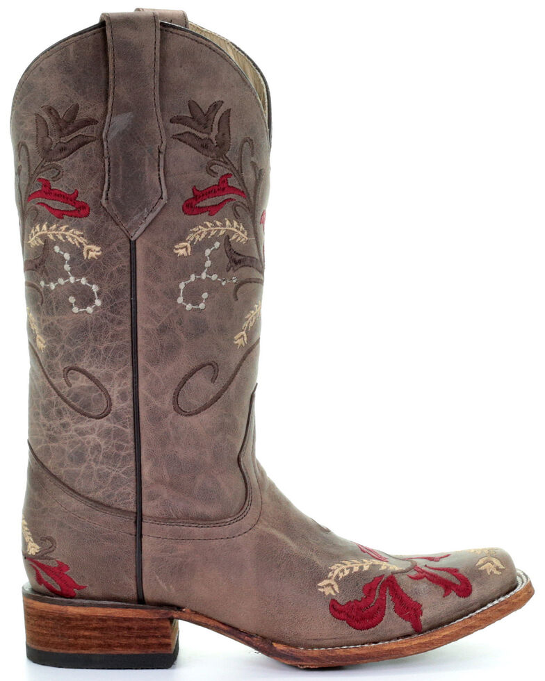 Circle G Women's Brown Floral Embroidery Western Boots - Square Toe, Brown, hi-res