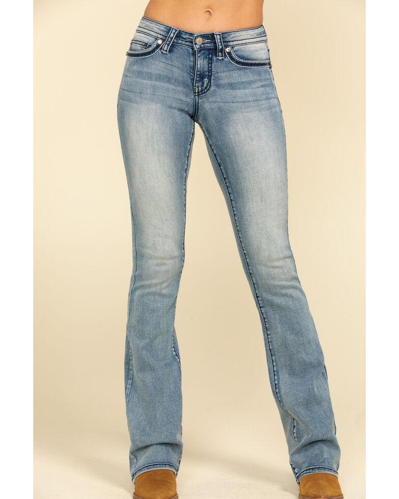 Shyanne Women's Medium Bling Faux Flap Bootcut Jeans , Blue, hi-res