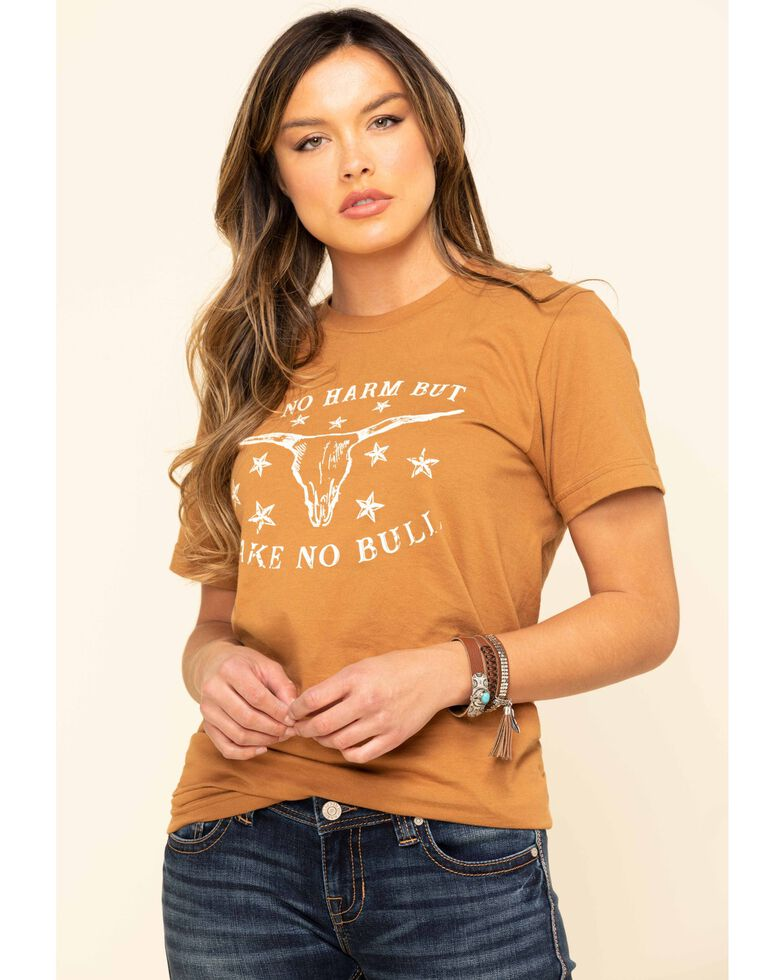 Ali Dee Women's Do No Harm But Take No Bull Graphic Tee, Camel, hi-res