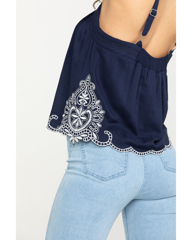 Miss Me Women's Navy Button Front Embroidered Tank Top, Navy, hi-res