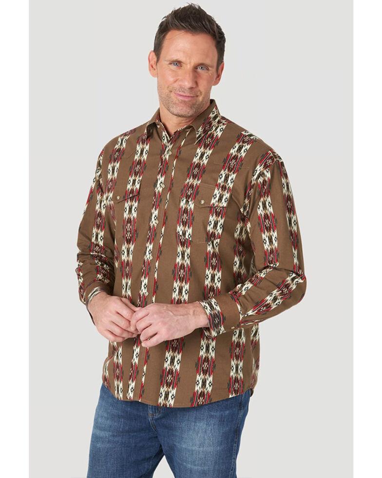 Wrangler Men's Brown Aztec Checotah Long Sleeve Snap Western Shirt , Brown, hi-res