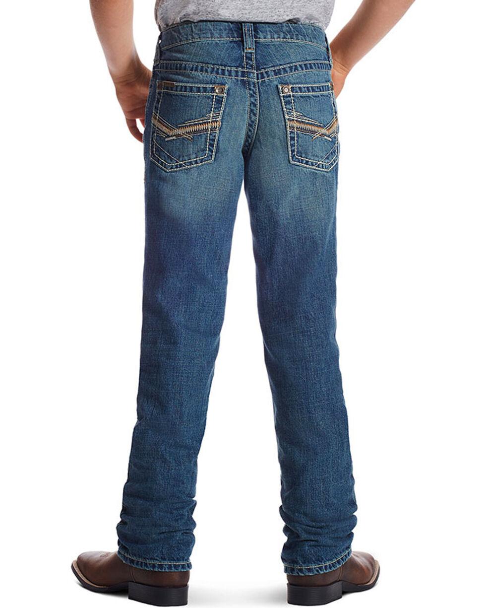 Ariat Boy's B4 Keen Relaxed Boot Cut Jeans, Blue, hi-res