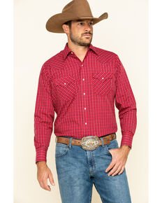 Ely Cattleman Mini Check Plaid Long Sleeve Western Shirt , Red, hi-res