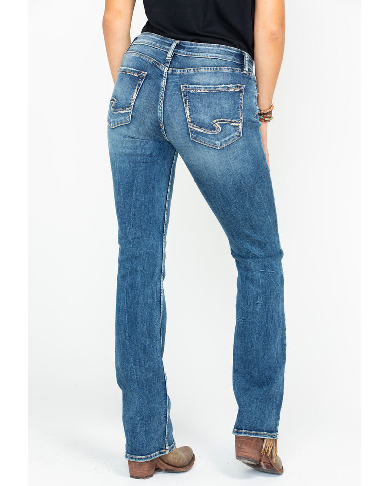 Silver Women's Elyse Mid-Rise Curvy Relaxed Slim Boot Cut Jeans, Indigo, hi-res