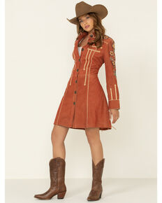 Double D Ranch Women's North Platte Suede Jacket , Rust Copper, hi-res