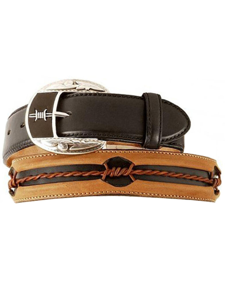 Justin Barbed Wire Belt, Black, hi-res