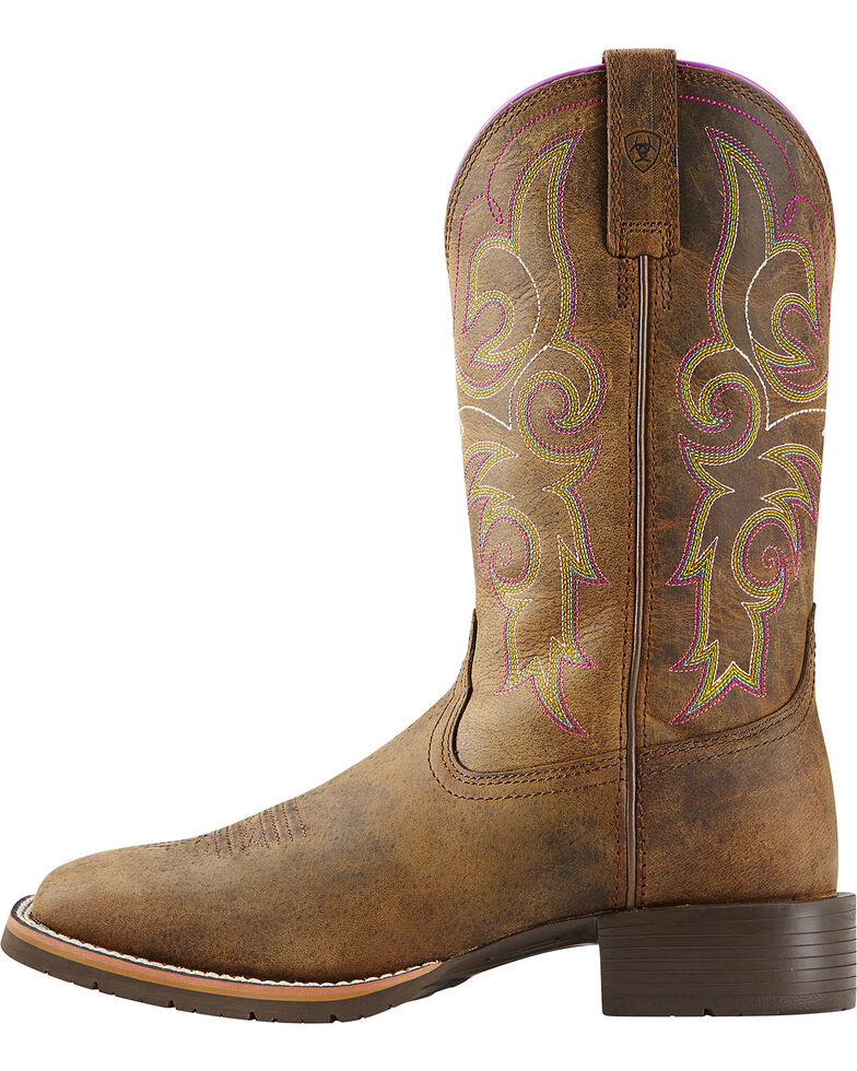 Ariat Women's Hybrid Rancher Cowgirl Boots - Square Toe, Brown, hi-res