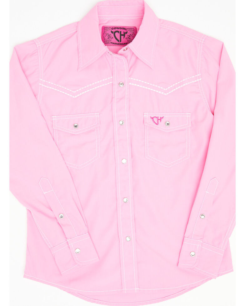 Cowgirl Hardware Girls' Pink Solid Horse Embroidered Long Sleeve Western Shirt , Pink, hi-res
